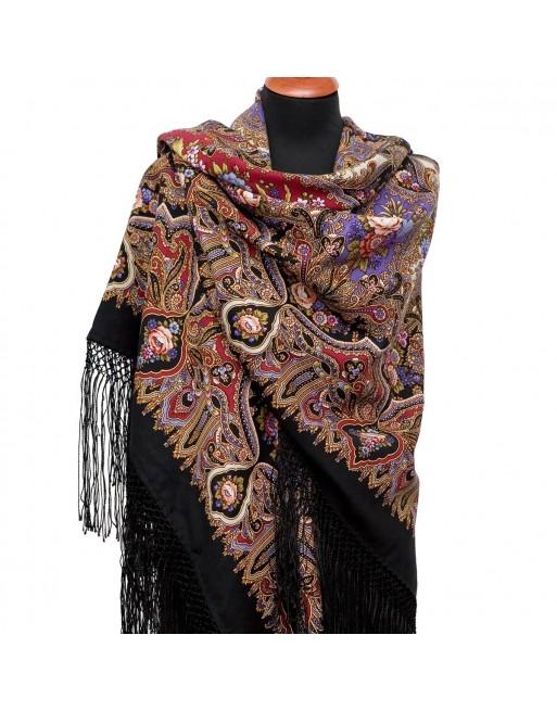 sal-din-lana-148x148cm-rusesc-original-pavlovo-posad-cu-desen-unic-mindal-multicolor-pe-fundal-negru