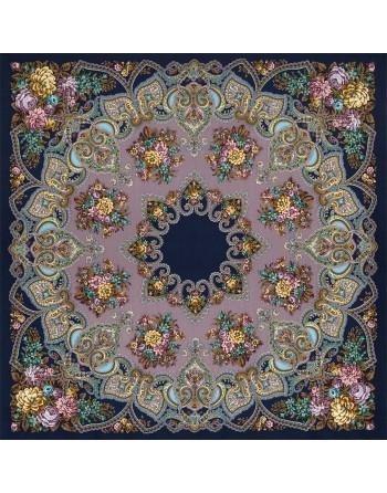 batic-din-lana-148x148cm-rusesc-original-pavlovo-posad-cu-desen-unic-maya-multicolor-pe-fundal-mov