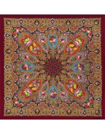sal-din-lana-148x148cm-rusesc-original-pavlovo-posad-cu-desen-unic-mindal-multicolor-pe-fundal-rosu