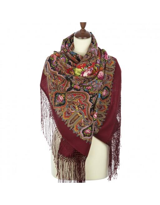 esarfa-din-lana-148x148cm-originala-pavlovo-posad-cu-desen-unic-mindal-multicolora-pe-fundal-rosu