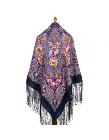 sal-din-lana-148x148cm-rusesc-original-pavlovo-posad-cu-desen-unic-mindal-multicolor-pe-fundal-mov