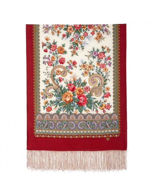 esarfa-sal-din-lana-150x60cm-originala-pavlovo-posad-rusia-model-chuvstvo-prekrasnovo-multicolor-pe-fundal-rosu