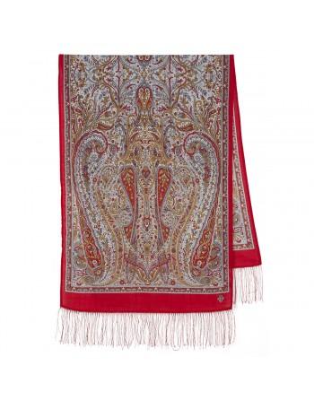 esarfa-sal-din-lana-150x60cm-originala-pavlovo-posad-rusia-model-oda-gryozam-multicolor-pe-fundal-rosu