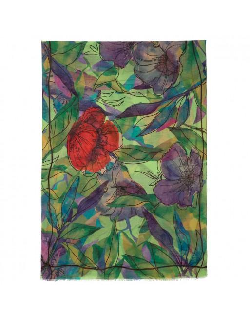 esarfa-sal-din-lana-230x80cm-originala-pavlovo-posad-rusia-model-floral-multicolor-pe-fundal-verde