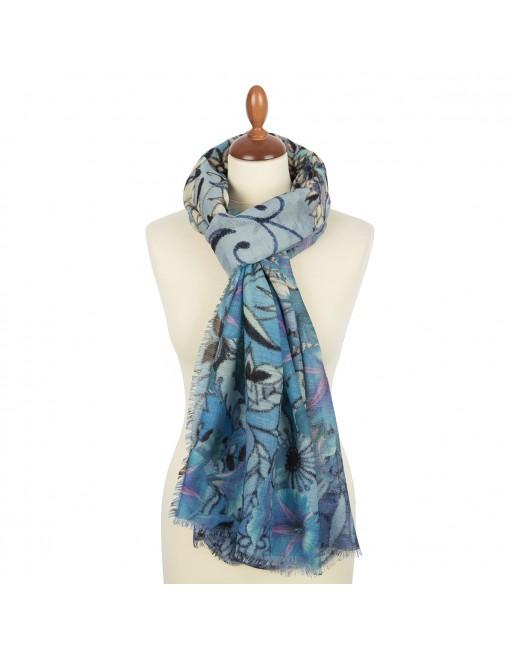 esarfa-sal-din-lana-230x80cm-originala-pavlovo-posad-rusia-model-floral-multicolor-pe-fundal-albastru