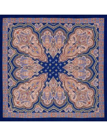 batic-esarfa-din-lana-89x89cm-original-pavlovo-posad-rusia-model-iskorka-multicolor-pe-fundal-albastru
