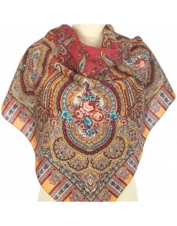 batic-esarfa-basma-din-lana-89x89cm-original-pavlovo-posad-rusia-model-berega-zhelaniy-multicolor-pe-fundal-rosu
