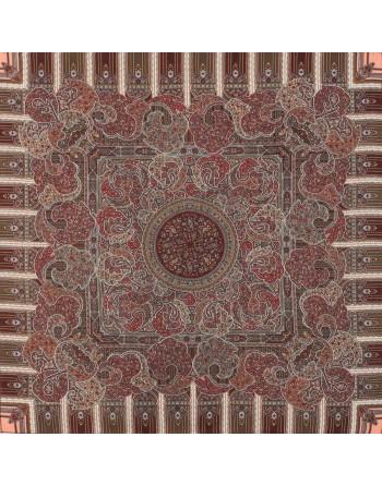 batic-esarfa-sal-din-lana-89x89cm-original-pavlovo-posad-rusia-model-den-rozhdenya-multicolor-pe-fundal-rosu-grena