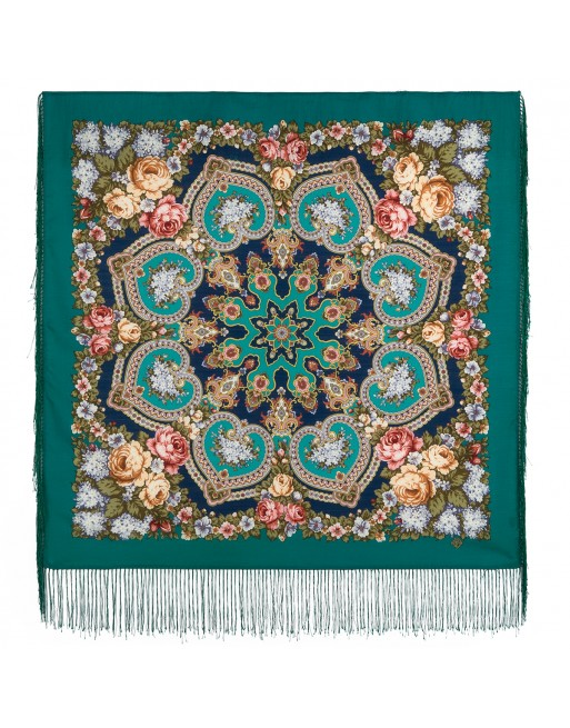 batic-esarfa-sal-lana-89x89cm-original-pavlovo-posad-rusia-model-floral-domashniy-ochag-multicolor-pe-fundal-verde-marin