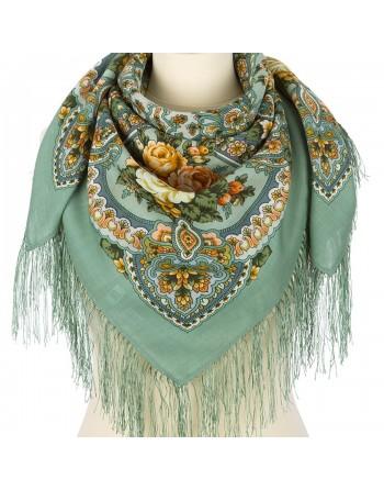 batic-esarfa-sal-din-lana-89x89cm-original-pavlovo-posad-rusia-model-floral-avrora-multicolor-pe-fundal-verde