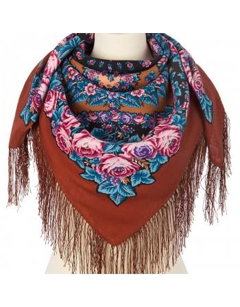 batic-esarfa-sal-din-lana-89x89cm-original-pavlovo-posad-rusia-model-floral-noch-svetla-pe-fundal-maro-caramiziu