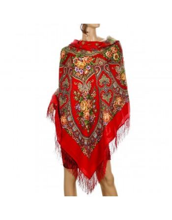 sal-esarfa-batic-din-lana-146x146cm-original-pavlovo-posad-rusia-model-floral-vyenskiy-vals-multicolor-pe-fundal-rosu
