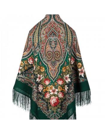sal-esarfa-batic-lana-146x146cm-original-pavlovo-posad-rusia-model-floral-tsvetochnyy-kaleydoskop-pe-fundal-verde