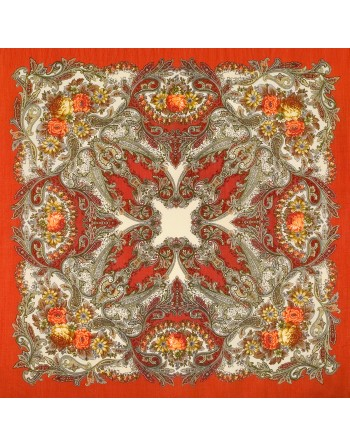 sal-esarfa-basma-batic-lana-125x125cm-original-pavlovo-posad-rusia-model-floral-son-babochki-fundal-rosu-portocaliu