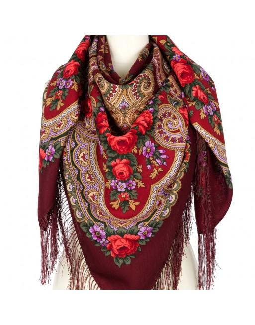 sal-esarfa-basma-batic-lana-125x125cm-original-pavlovo-posad-rusia-model-floral-serenada-multicolor-pe-fundal-rosu-visiniu