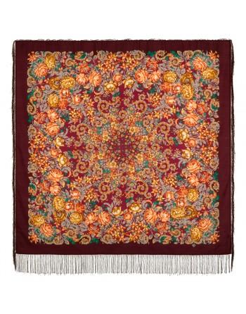 sal-esarfa-basma-batic-lana-125x125cm-original-pavlovo-posad-rusia-model-floral-utomlyonnoye-solntse-fundal-rosu-grena