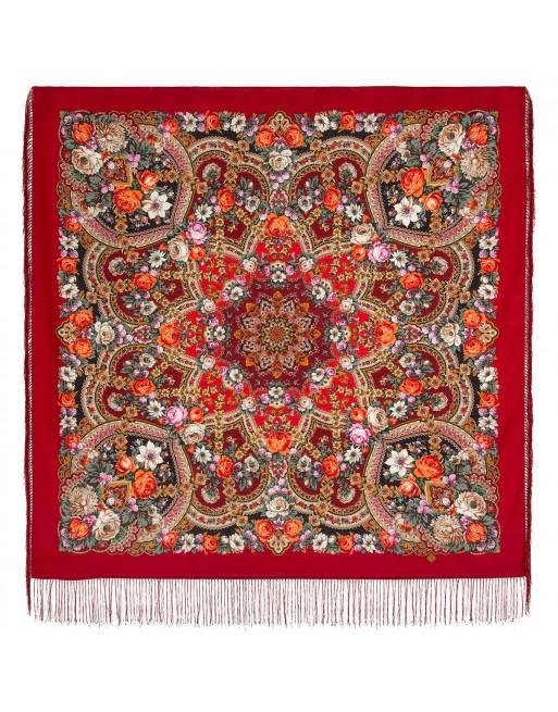 sal-esarfa-basma-batic-lana-125x125cm-original-pavlovo-posad-rusia-model-floral-serebryanyy-ruchey-pe-fundal-rosu