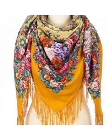 sal-esarfa-basma-batic-lana-125x125cm-original-pavlovo-posad-rusia-model-pismo-lyubimoy-multicolor-pe-galben-portocaliu