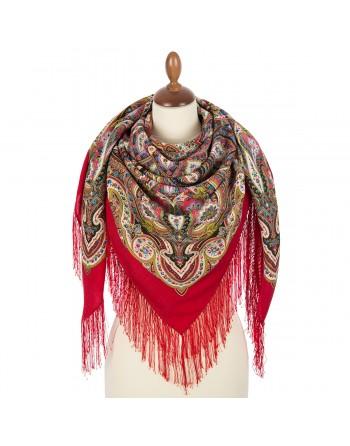 sal-lana-125x125cm-original-pavlovo-posad-rusia-model-zolotaya-kletka-multicolor-pe-fundal-rosu