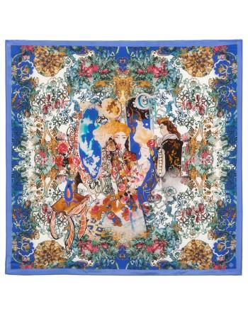 esarfa-din-matase-naturala-89x89cm-originala-pavlovo-posad-rusia-model-floral-multicolor-pe-fundal-albastru