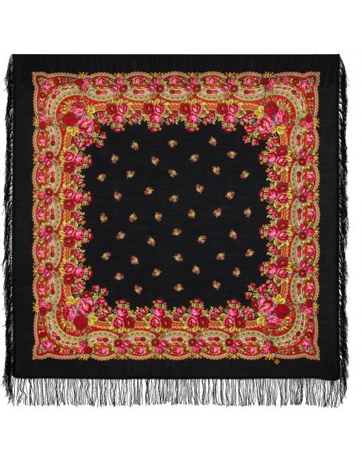 sal-esarfa-basma-batic-lana-125x125cm-original-pavlovo-posad-rusia-model-floral-rozovyy-sad-pe-fundal-negru