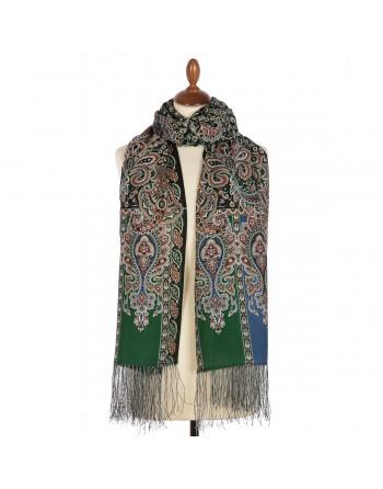 sal-esarfa-din-lana-200x70cm-original-pavlovo-posad-rusia-model-chetyre-vetra-multicolor-pe-fundal-verde