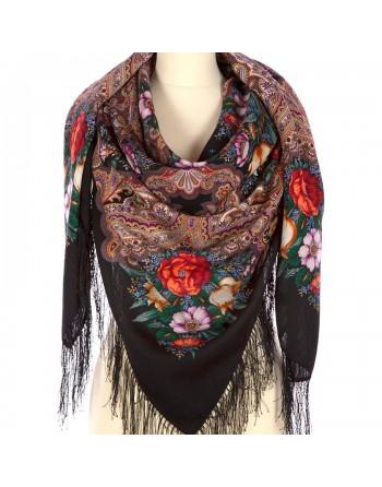 sal-esarfa-basma-batic-lana-146x146cm-original-pavlovo-posad-rusia-model-floral-letneye-chudo-multicolor-pe-fundal-negru