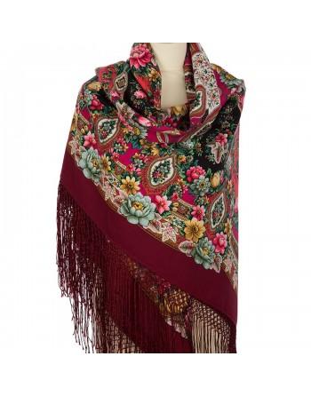 sal-esarfa-basma-batic-lana-148x148cm-rusesc-original-pavlovo-posad-model-zlato-serebro-multicolor-pe-fundal-rosu-visiniu