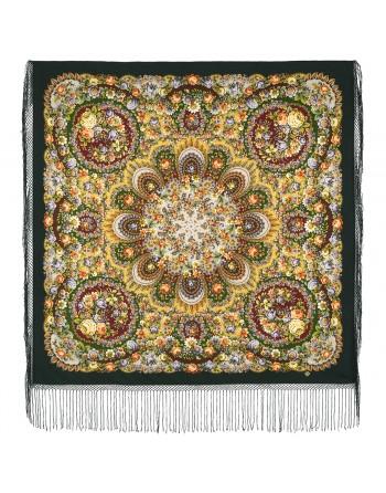 sal-esarfa-basma-batic-lana-148x148cm-rusesc-original-pavlovo-posad-model-dusha-rozy-multicolor-pe-fundal-verde