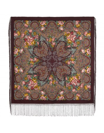 sal-esarfa-basma-batic-lana-148x148cm-rusesc-original-pavlovo-posad-model-floral-staryy-zamok-multicolor-pe-fundal-maro