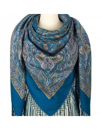 sal-esarfa-basma-batic-lana-148x148cm-rusesc-original-pavlovo-posad-model-tayinstvennyy-vecher-pe-fundal-albastru