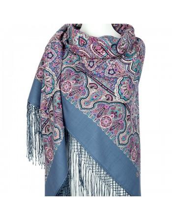 sal-esarfa-basma-batic-lana-148x148cm-rusesc-original-pavlovo-posad-model-bogataya-nevesta-multicolor-pe-fundal-albastru