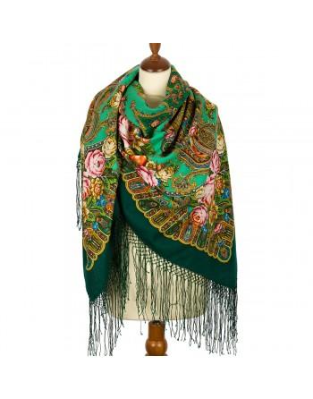 sal-esarfa-basma-batic-lana-148x148cm-rusesc-original-pavlovo-posad-model-svet-moy-zerkaltse-pe-fundal-verde-turcoaz