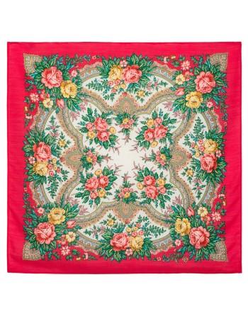 batic-esarfa-basma-sal-din-lana-72x72cm-original-pavlovo-posad-rusia-model-floral-vspleski-radosti-pe-fundal-rosu