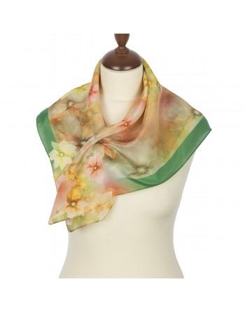 esarfa-batic-basma-din-matase-naturala-65x65cm-originala-pavlovo-posad-rusia-model-floral-multicolor-pe-fundal-verde