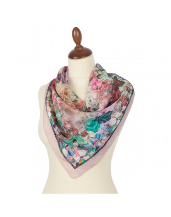 esarfa-batic-basma-din-matase-naturala-65x65cm-originala-pavlovo-posad-rusia-model-floral-multicolor-pe-fundal-roz-cod-10102-2