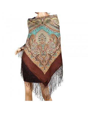sal-esarfa-batic-din-lana-148x148cm-rusesc-original-pavlovo-posad-model-gubernatorskiy-multicolor-pe-fundal-maro