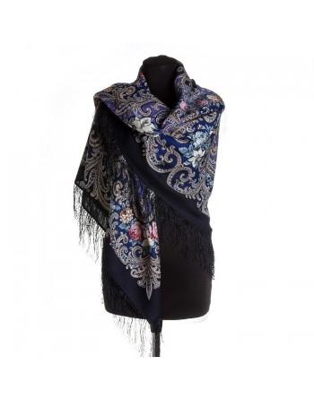 1437-14-sal-din-lana-125x125cm-original-pavlovo-posad-rusia-model-floral-tayna-serdtsa-multicolor-pe-fundal-albastru