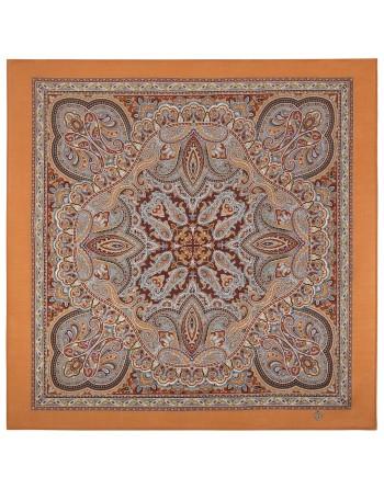 1907-4-batic-din-lana-89x89cm-original-pavlovo-posad-rusia-model-zhemchuzhnye-rosy-multicolor-pe-fundal-maro-caramiziu
