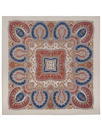 1908-2-batic-din-lana-89x89cm-original-pavlovo-posad-rusia-model-vostochnaya-printsesa-multicolor-pe-fundal-bej