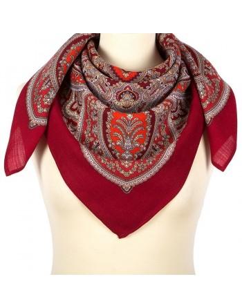 1908-5-batic-din-lana-89x89cm-original-pavlovo-posad-rusia-model-vostochnaya-printsesa-multicolor-pe-fundal-rosu