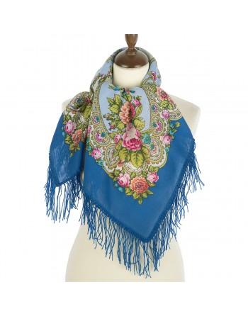 1641-13-batic-din-lana-89x89cm-original-pavlovo-posad-rusia-model-floral-nezhnyye-obyatya-multicolor-pe-fundal-albastru