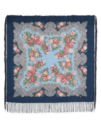 1540-14-batic-din-lana-89x89cm-original-pavlovo-posad-rusia-model-floral-rumyanets-multicolor-pe-fundal-albastru