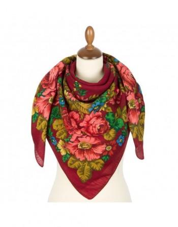 esarfa-din-lana-115x115cm-originala-pavlovo-posad-rusia-model-solnechnaya-trapinka-multicolor-pe-fundal-rosu
