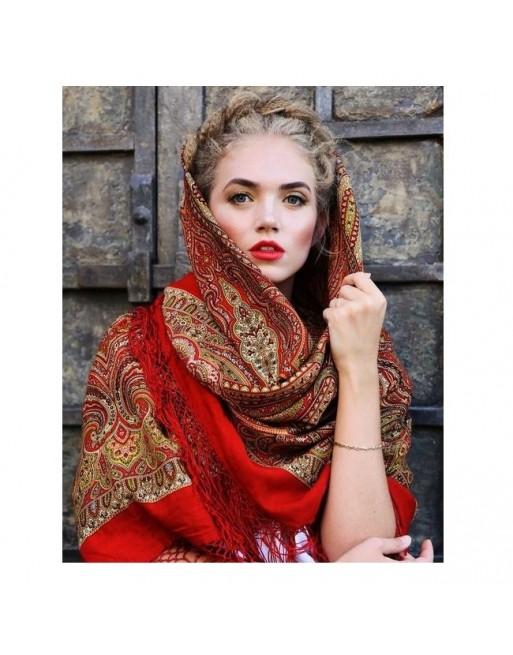 sal-esarfa-basma-batic-lana-148x148cm-rusesc-original-pavlovo-posad-model-tayinstvennyy-vecher-multicolor-pe-fundal-rosu