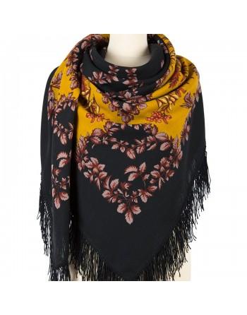 352-18-sal-esarfa-batic-din-lana-146x146cm-original-pavlovo-posad-rusia-model-ryabina-multicolor-pe-fundal-negru