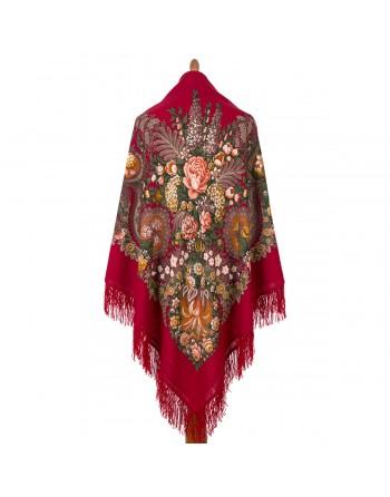 734-5-sal-esarfa-batic-lana-146x146cm-original-pavlovo-posad-rusia-model-nad-serebryanoy-vodoy-multicolor-fundal-rosu-