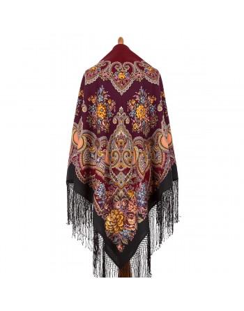 372-20-sal-esarfa-batic-din-lana-148x148cm-rusesc-original-pavlovo-posad-cu-desen-unic-maya-multicolor-pe-fundal-negru