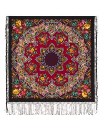 372-24-sal-esarfa-batic-din-lana-148x148cm-rusesc-original-pavlovo-posad-cu-desen-unic-maya-multicolor-pe-fundal-negru