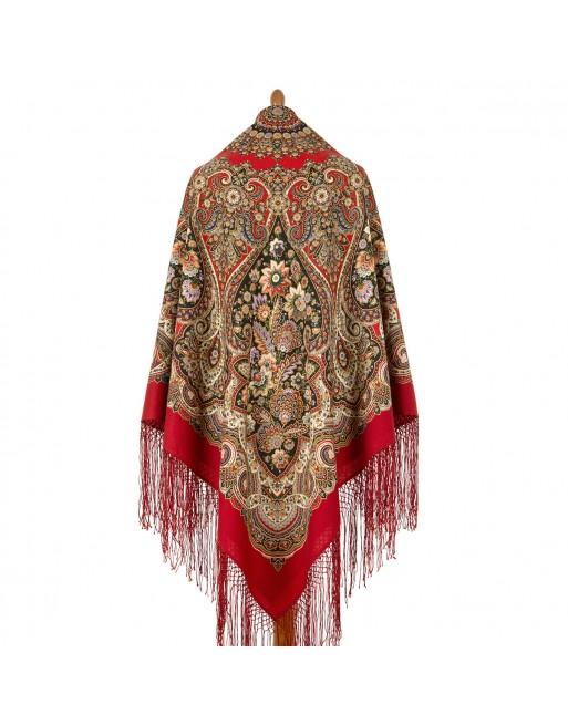 1906-5-sal-esarfa-batic-din-lana-148x148cm-original-pavlovo-posad-rusia-model-zhenskoye-schastye-pe-fundal-rosu